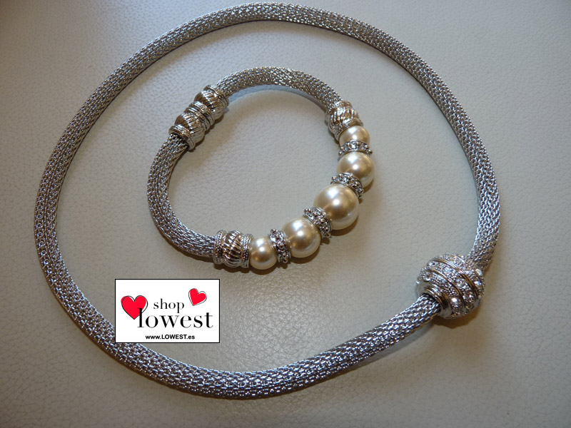 conjunto collar pulsera brillantes lowest 0021