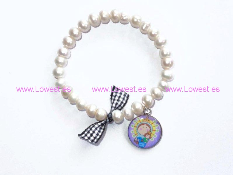 pulsera perlas y virgen plata colores