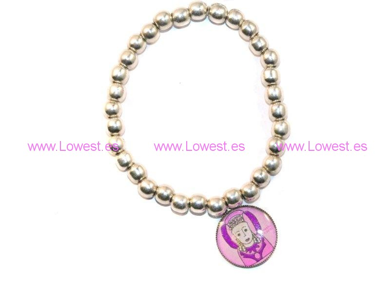 pulsera plata bolas virgen colores