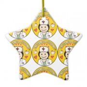 enfermera cuidame morena y amarillo adorno navideño de ceramica en forma de estrella retrocharms 1