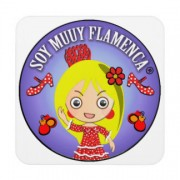 muñeca rubia soy muy flamenca traje rojo posavasos de bebida retrocharms 1