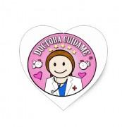 regalos doctora cuidame castana y rosa pegatina en forma de corazon retrocharms 1