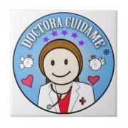 regalos para doctora castana y celeste cuidame azulejo cuadrado pequeño retrocharms 1