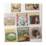 sellos cuba vintage etiquetas memorabilia azulejo cuadrado pequeño retrocharms 1