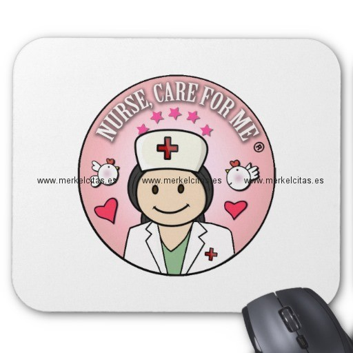 nurse care for me dark hair pink alfombrilla de raton retrocharms