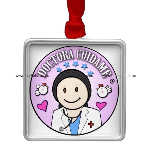 regalos doctora cuidame morena adorno navideño cuadrado de metal retrocharms