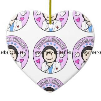 regalos doctora cuidame morena adorno navideño de ceramica en forma de corazon retrocharms