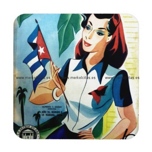regalos vintage chica cuba bandera retrocharms posavaso retrocharms