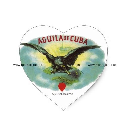 vintage cubano aguila de cuba pegatina en forma de corazon retrocharms
