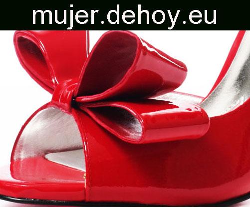 zapatos mujer rojos lazo