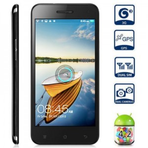 JIAKE JK 10 5.0 inch 3G Phablet Android 4.2 MTK6582 Quad Core 1.3GHz 1GB 4GB HD OGS Screen Dual Cameras Gesture Sensing GPS