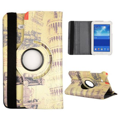 360 Degrees Rotatable Foldable Flip Stand Leather Cover Case for Samsung Galaxy Tab 3 Lite T110-T111