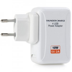 10W 5V 2A Interchangeable Plugs Power Adapter 4 USB Slots for Mobile Devices