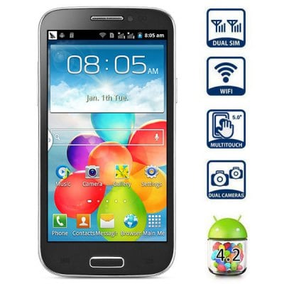 GT T9500 B 5.0 inch Android 4.2 Phablet Unlocked Phone SP6820A 1.0GHz WVGA Screen Dual SIM WiFi