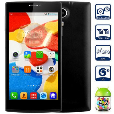 JIAKE V6 Android 4.2 3G Phablet with 5.5 inch QHD Screen MTK6582 1.3GHz Quad Core 1GB RAM 8GB ROM GPS Dual Cameras