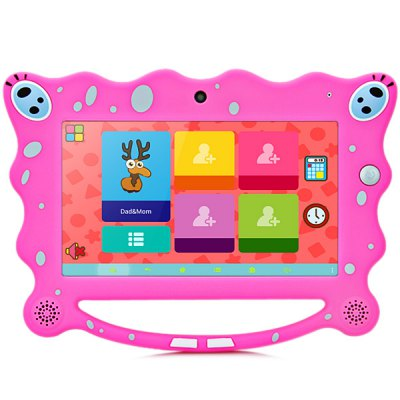 7C08 7 inch Android 4.4 Kids Tablet PC with WSVGA Screen A23 Dual Core 1.54GHz Dual Camera WiFi 512MB RAM 8GB ROM