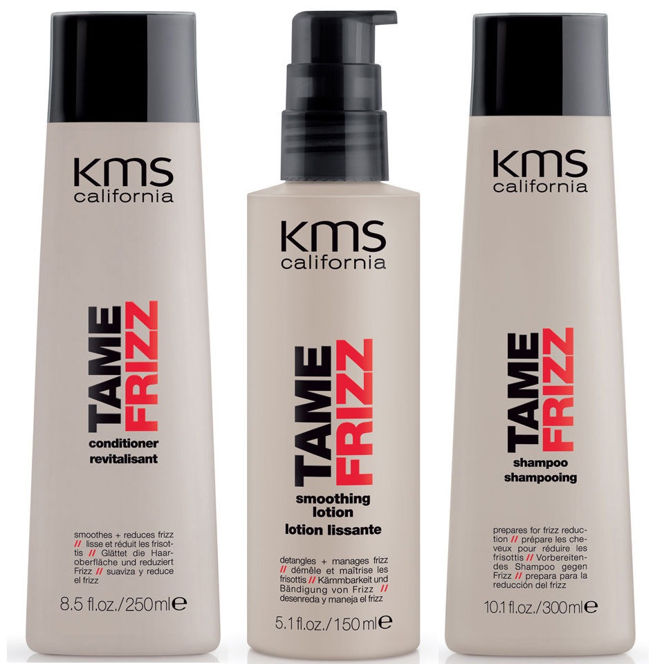 Trio de productos suavizantes KMS California TameFrizz