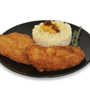 Escalopines de pollo con arroz