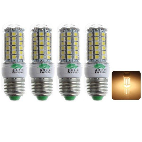 4 x Zweihnder E27 7W 69 x 5050 SMD 3000 - 3500K 600LM LED Luz de maiz blanco calido