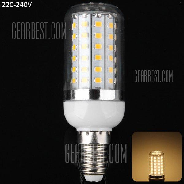15W E14 - 72 LED SMD2835 1350LM LED Luz Lampara de filo de maiz Plata - Blanco calido.