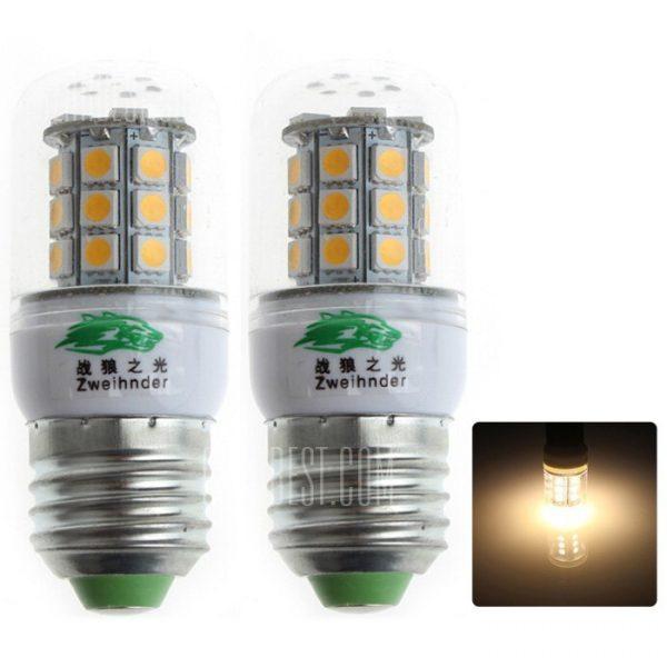 2pcs Zweihnder QR 30 - E27 - E27 3W 280lm 30 x 5050 SMD LED Bombilla de luz blanca calida de maiz ( 3000 - 3500K )