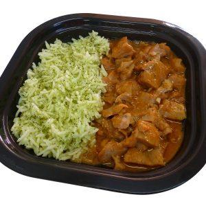 Pollo Tikka Massala con arroz verde