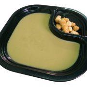 Crema de alcachofas con dados de pan