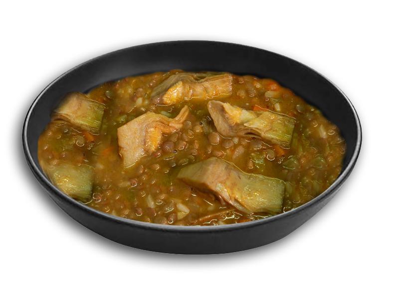 Lentejas estofadas con arroz y alcachofas