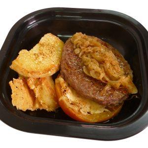 Hamburguesa de ternera Black Angus con tomate patatas y cebolla