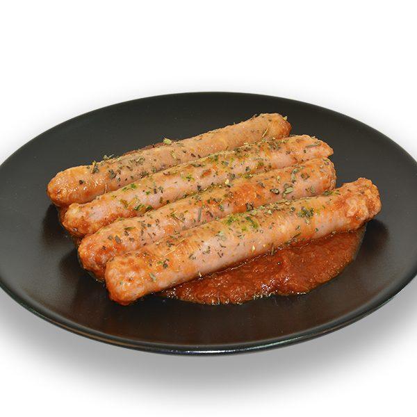 Salchichas de pollo con salsa de tomate
