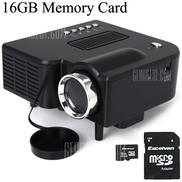 UC28+ Mini proyector LED Portatil 400 lumenes resolucion nativa de 320 x 240 y una relacion de aspecto 16:9 es compatible con HDMI/VGA/IR/USB/SD con 16GB TF tarjeta (enchufe de EE.UU.