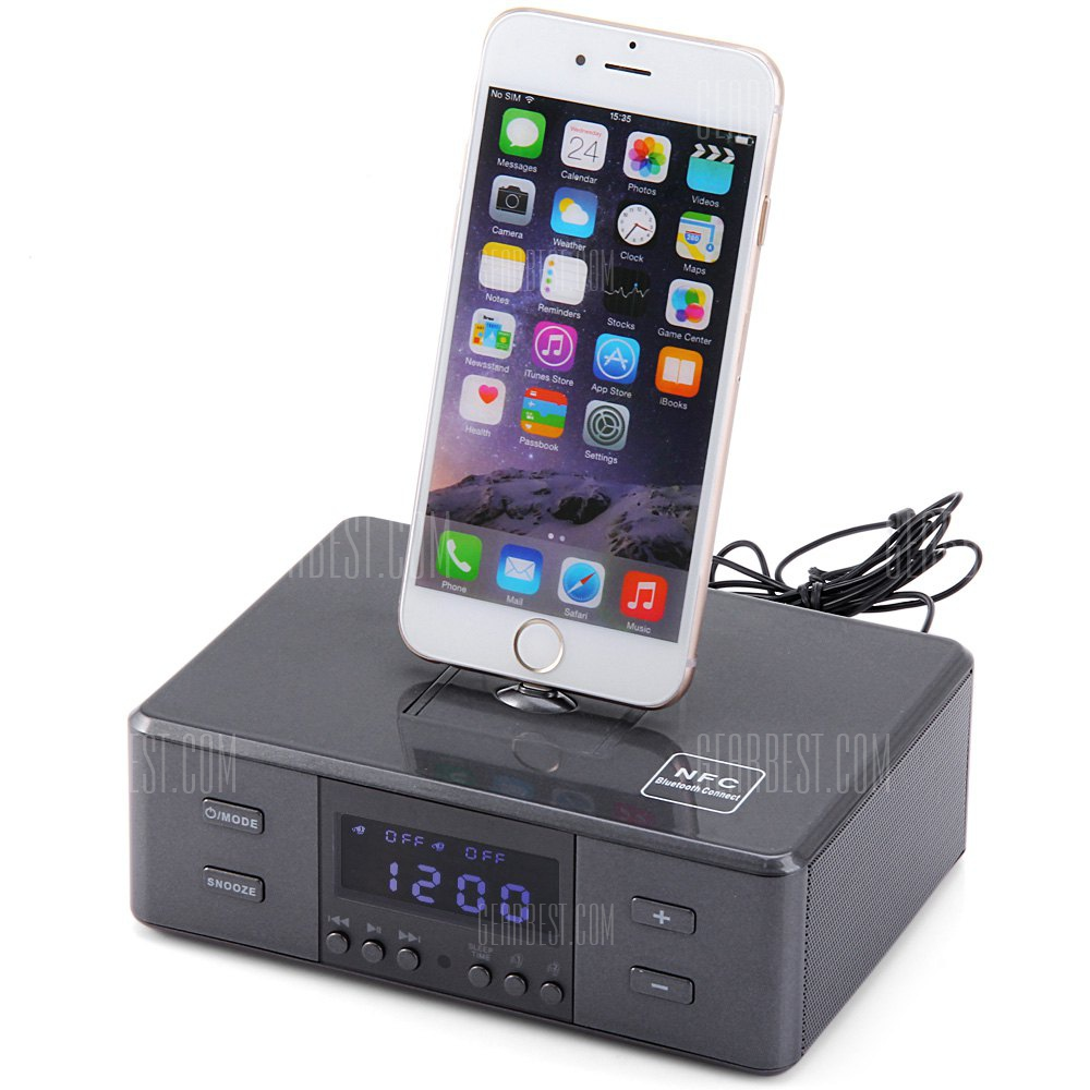 D9 Mando a distancia portatil Wireless Bluetooth Reloj alarma Micro USB 8 pin y 30 Pin Interface El sistema de altavoces de musica con radio FM