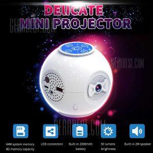 S5 proyector LED de bolsillo 50LM 320 x 240 pixeles 8GB de capacidad de memoria con conexion USB / 2000mAh Bateria de litio