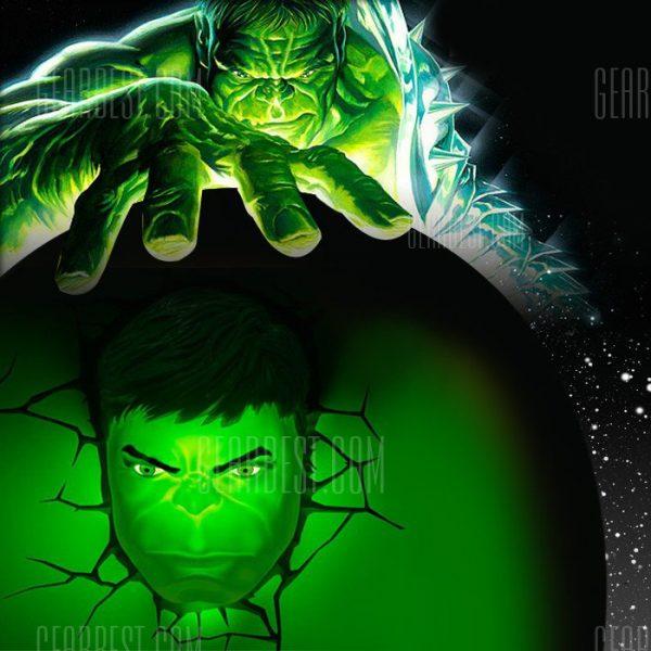 Luz de pared 3D de los vengadores Hulk cabeza