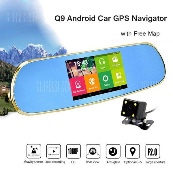Q9 Android Navegador GPS Espejo retrovisor coche DVR con mapa gratuito