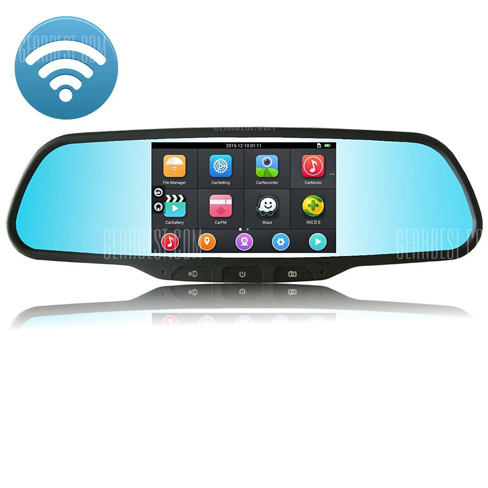 RM-LZ2100 Bluetooth WiFi 120 grados 2MP 1080P FHD coche GPS Espejo retrovisor DVR camara
