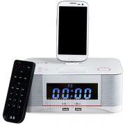 A8 Toque Radio despertador con sistema de altavoces inalambricos Bluetooth conector Micro USB controlador remoto Radio FM AUX NFC Dual USB