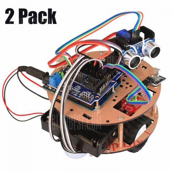 Pack de 2 RT0004 Intelligent Car Kit Control remoto que van vehiculo robot inteligente poco tortuga para Arduino