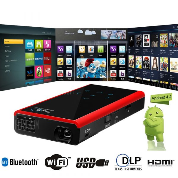 E06S Funcion completa 120LM 854 x 480 pixeles Android4.4.2 proyector DLP Bluetooth WiFi 1GB RAM 4GB ROM para TV Box ordenador consola Camara Telefono VCD DVD P
