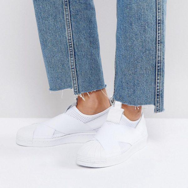 Zapatillas de deporte sin cierres en blanco Superstar de adidas Originals