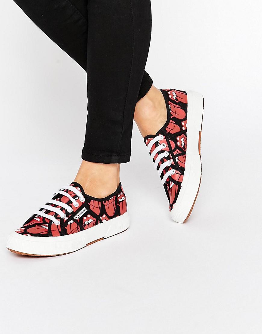 Zapatillas de lona rojas de Superga X Rolling Stones