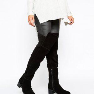 Botas por encima de la rodilla en ante anchas y en punta KALEB en ofertas calzado