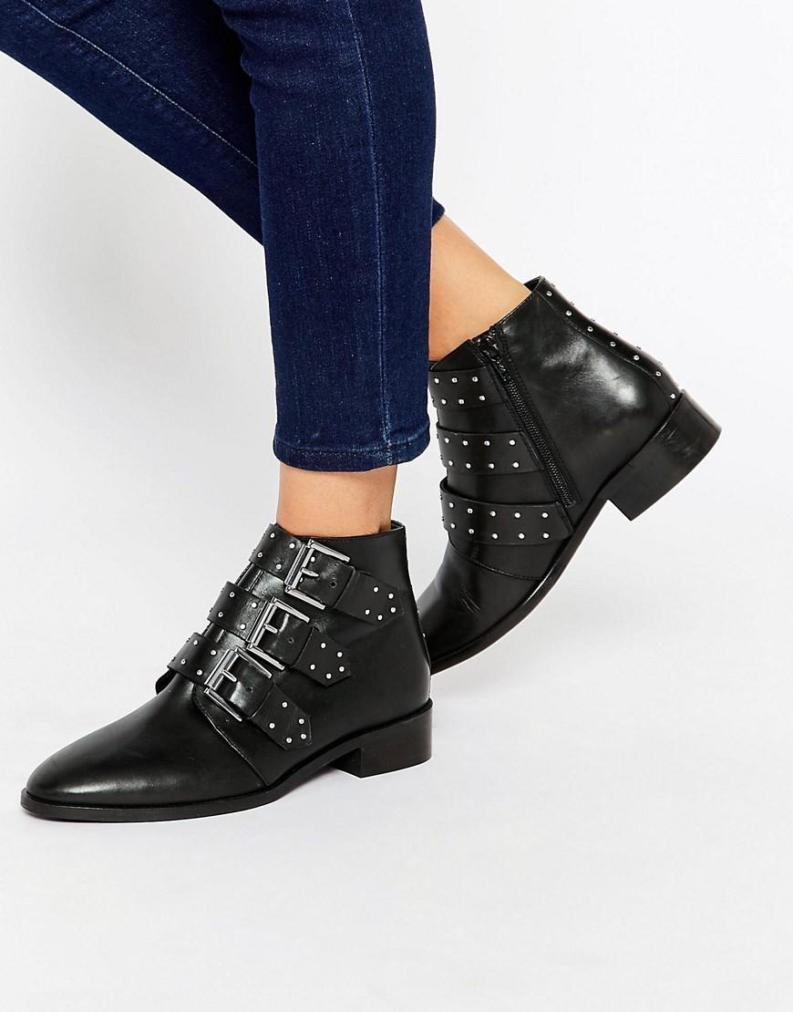 Botines de cuero con tachuelas ASHLEIGH en ofertas calzado