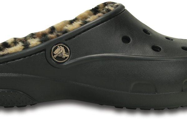 Crocs Mule Mujer Negros / Gold Crocs Freesail Leopard Fuzz Lined