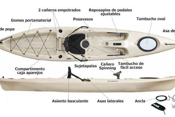 Kayak Pescador 12 Pesca Pack con Leash