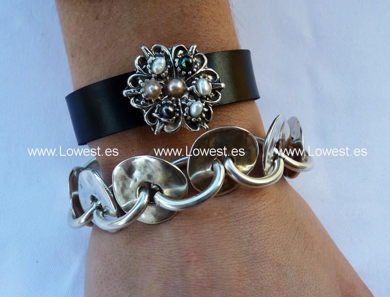 pulseras de moda cuero plata