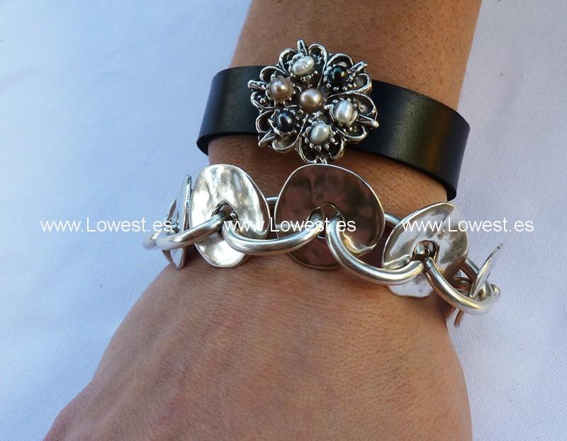 pulseras de moda plata cuero