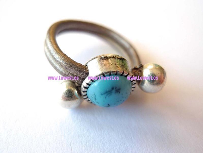anillo plata piedra y cuero