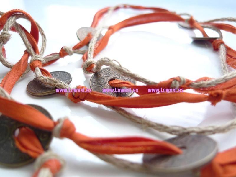 bisuteria fina artesanal collar monedas y tela