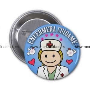 chapa enfermera cuidame plis rubia azul chapa redonda 5 cm retrocharms 1
